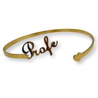 Profe y corazon - Pulsera caña de acero dorado
