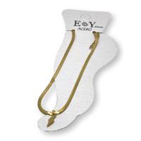 Rayo dorado - Tobillera cadena plana de Acero inox dorado 23 cm + 5 cm extendedora