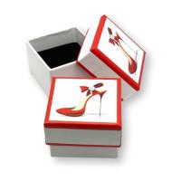 Cuadrada decorada zapato tacon - Cajita pequeña 40x40x30 mm