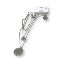 Triple choker con dos monedas - Cadena gargantilla acero plateado 44 cm + 3 cm extendedora