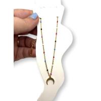 Luna invertida y bolitas colores -  Tobillera cadena fina de Acero Inoxidable dorado 23 cm + 5 cm extendedora