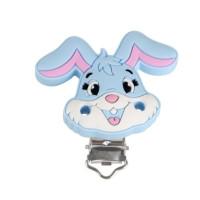 Pinza chupetero silicona 50x42 mm-  Conejo azul bebe