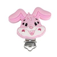 Pinza chupetero silicona 50x42 mm-  Conejo rosa bebe