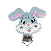 Pinza chupetero silicona 50x42 mm-  Conejo gris claro