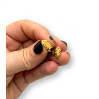 Raspas doradas 11x6 mm - Pendientes acero inoxidable plateado- 1 par