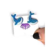 Ballenas de plexy - Pendiente de acero - 1 par