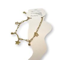 Estrellas y bolitas - Tobillera cadena paperclip Acero Inoxidable 23 cm + 5 cm extendedora