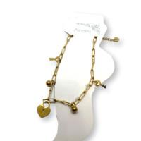 Llaves, candado corazon y bolitas - Tobillera cadena paperclip Acero Inoxidable 23 cm + 5 cm extendedora
