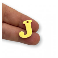 Letra J - Plexy amarillo pastel - Colgante letra inicial abecedario 18 mm, taladro 1.5 mm