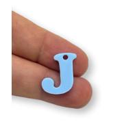Letra J - Plexy azul pastel - Colgante letra inicial abecedario 18 mm, taladro 1.5 mm