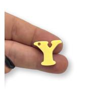 Letra Y - Plexy amarillo pastel - Colgante letra inicial abecedario 18 mm, taladro 1.5 mm