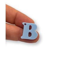 Letra B - Plexy azul pastel - Colgante letra inicial abecedario 18 mm, taladro 1.5 mm