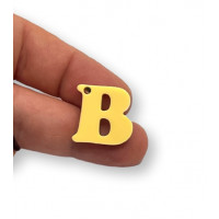Letra B - Plexy amarillo pastel - Colgante letra inicial abecedario 18 mm, taladro 1.5 mm