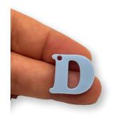 Letra D - Plexy azul pastel - Colgante letra inicial abecedario 18 mm, taladro 1.5 mm