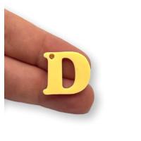 Letra D - Plexy amarillo pastel - Colgante letra inicial abecedario 18 mm, taladro 1.5 mm