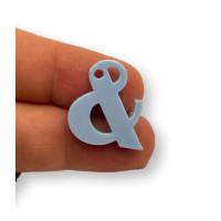 Letra & - Plexy azul pastel - Colgante letra inicial abecedario 18 mm, taladro 1.5 mm