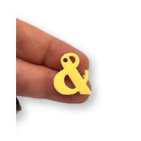 Letra & - Plexy amarillo pastel - Colgante letra inicial abecedario 18 mm, taladro 1.5 mm