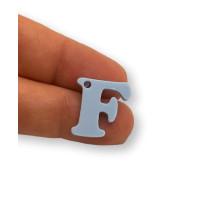 Letra F - Plexy azul pastel - Colgante letra inicial abecedario 18 mm, taladro 1.5 mm