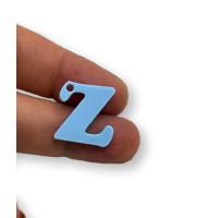 Letra Z - Plexy azul pastel - Colgante letra inicial abecedario 18 mm, taladro 1.5 mm