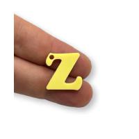 Letra Z - Plexy amarillo pastel - Colgante letra inicial abecedario 18 mm, taladro 1.5 mm