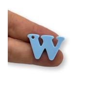 Letra W - Plexy azul pastel - Colgante letra inicial abecedario 18 mm, taladro 1.5 mm