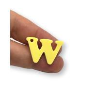 Letra W - Plexy amarillo pastel - Colgante letra inicial abecedario 18 mm, taladro 1.5 mm