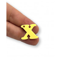 Letra X - Plexy amarillo pastel - Colgante letra inicial abecedario 18 mm, taladro 1.5 mm