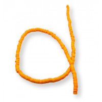 Rondel 4 mm disco arcilla Naranja Fluor pastel- 4x1 mm- Hilera de 44 cm - 400 uds aprox