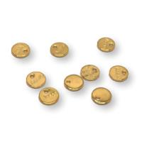Monedita acero dorado (10 uds)- Colgante acero inoxidable 6 mm