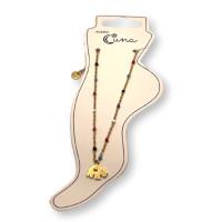 Elefante y cadena con bolitas de esmalte - Tobillera  Acero inoxidable dorado - 23 cm + extendedora