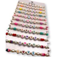 Pulsera de macrame con perlas, katsuki de colores y palabra LOVE ( escoge color)