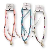 Collar veraniego de katsuki multicolor y concha con bolitas de acero ( escoge color)