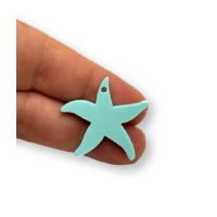 Plexy turquesa - Colgante estrella de mar 25 mm, int 1.2 mm
