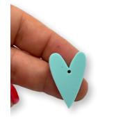 Plexy turquesa - Colgante corazon pico 28x20 mm, int 1.5 mm