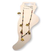 Tres estrellas y dos bolitas y cadena bolitas de esmalte - Tobillera  Acero inoxidable dorado - 23 cm + extendedora