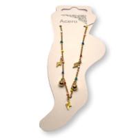 Tres rayos y dos bolitas y cadena bolitas de esmalte - Tobillera  Acero inoxidable dorado - 23 cm + extendedora