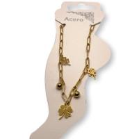 Treboles y bolitas - Tobillera cadena paperclip Acero Inoxidable dorado 23 cm + 5 cm extendedora