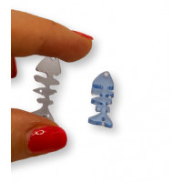 Plexy cristal blue - Entrepieza raspa pescado 21x9 mm, int 1.2 mm