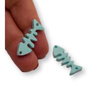 Plexy turquesa - Entrepieza raspa pescado 21x9 mm, int 1.2 mm