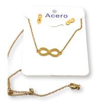 Infinito - Conjunto collar y pendientes de acero dorado