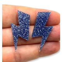 Aplique metacrilato plexy rayo grande 35x17 mm - Azul glitter- 2 uds