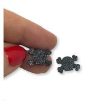 Plexy negro glitter - Aplique calavera pirata 14x10 mm (1 par)
