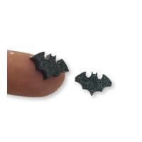 Plexy negro glitter - Aplique murcielago 14x8 mm (1 par)