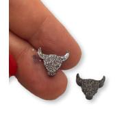 Plexy negro glitter - Aplique cabeza buffalo 12x10 mm (1 par)