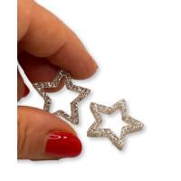 Plexy plata glitter - Colgante y entrepieza estrella hueca 20 mm, int 1.5 mm