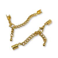 Cierre broche collar acero dorado  con terminales de 3 mm