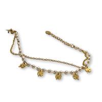 Pulsera acero dorado con treboles y perlitas blancas - 17 cm +  extension