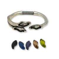 Pulsera tres cristales - Brazalete Zamak baño plata con muelle 20 mm ( M) ( incluye 3 cristales color a escoger)