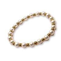 Pulsera perlas blancas sinteticas y bolas acero dorado ( elastica)