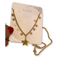 Gargantilla choker 11 estrellas de acero dorado - 41 + 4 cm extension